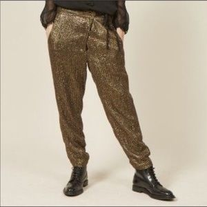 Antik Batik Gold Embellished Guy Pants Tapered XS